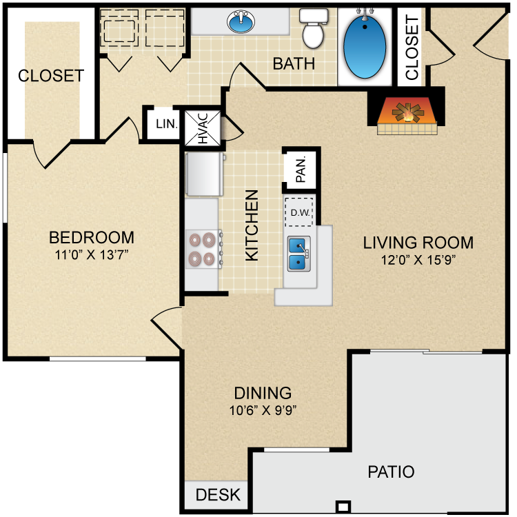 842 sq. ft. A3 floor plan