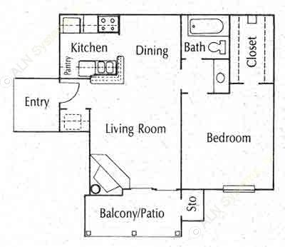 596 sq. ft. 11A floor plan