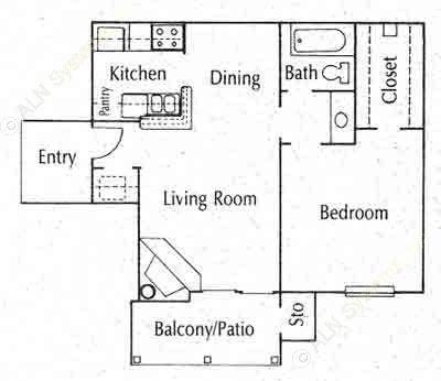 596 sq. ft. A1 floor plan