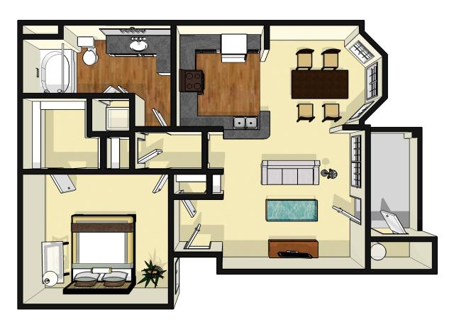 792 sq. ft. Broadgreen floor plan