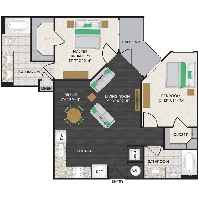 997 sq. ft. B2 floor plan