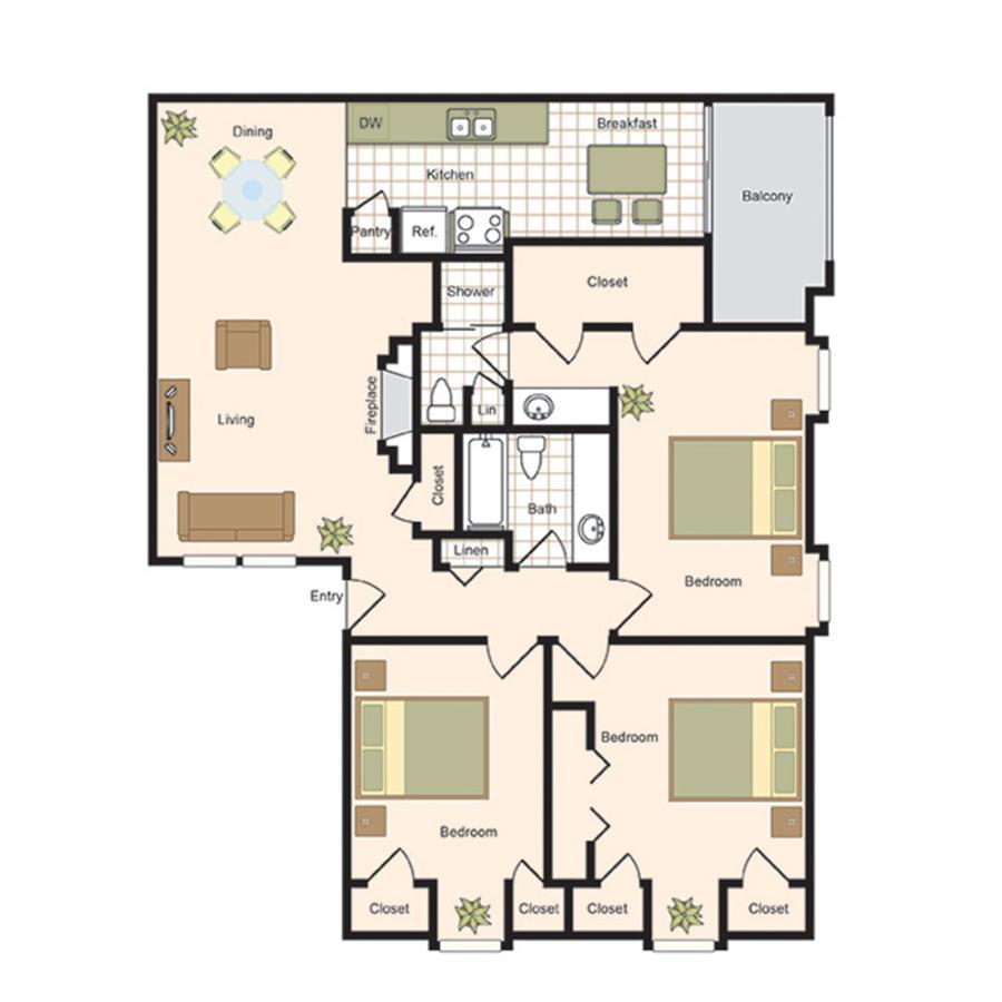 1,295 sq. ft. C1 floor plan