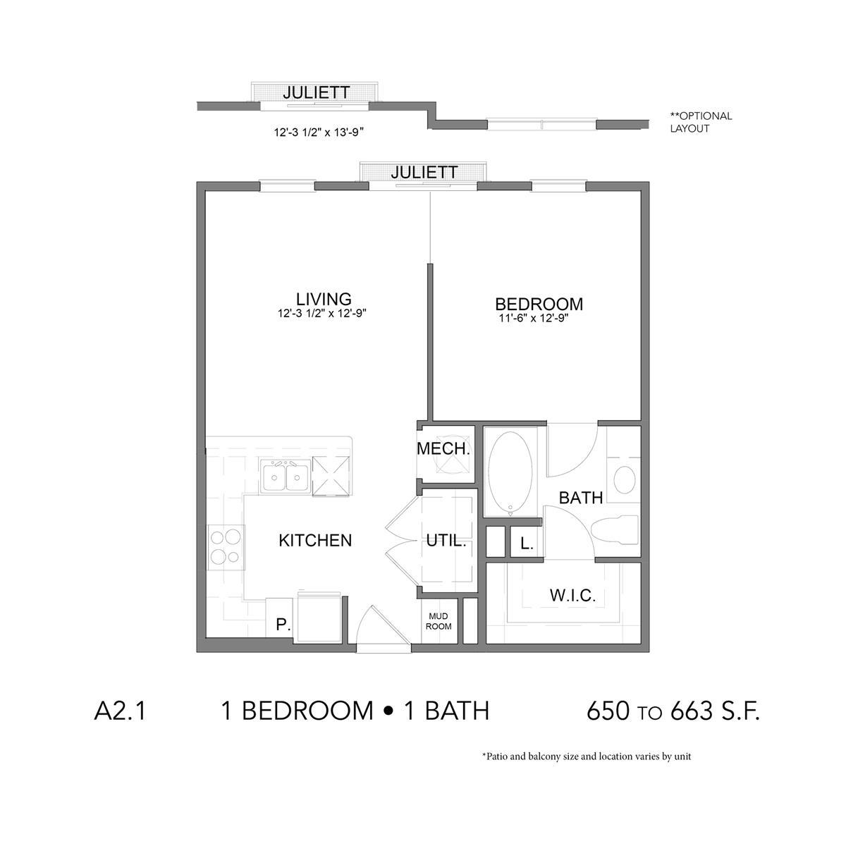 650 sq. ft. A2.1 floor plan