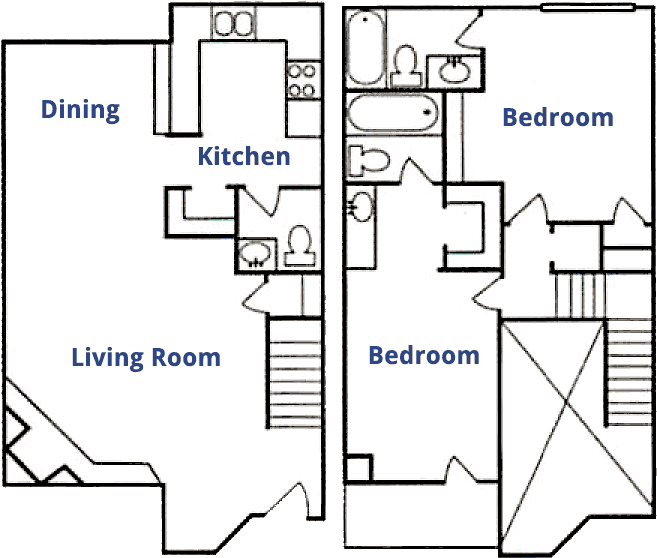 1,217 sq. ft. B floor plan