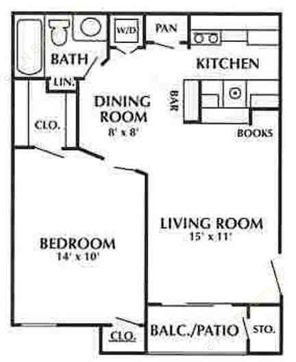 625 sq. ft. D floor plan