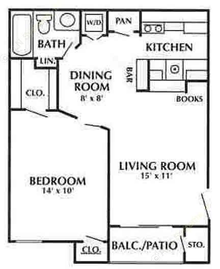 625 sq. ft. D floor plan