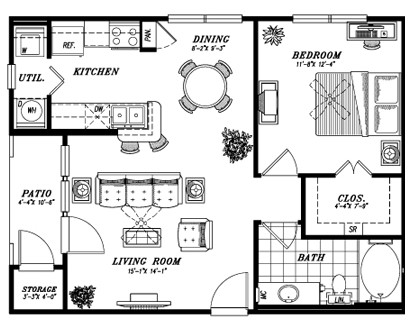 704 sq. ft. E2B floor plan