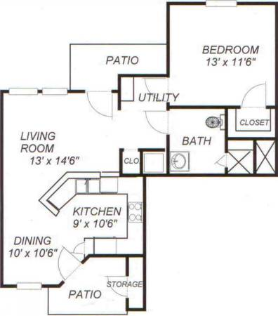 808 sq. ft. 60% floor plan