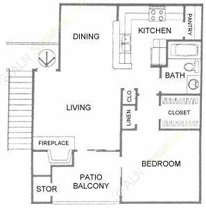 658 sq. ft. A3 floor plan
