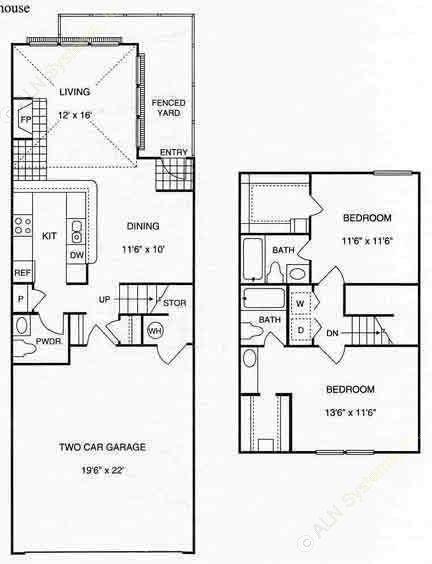 1,200 sq. ft. B3 w/2 Gar floor plan