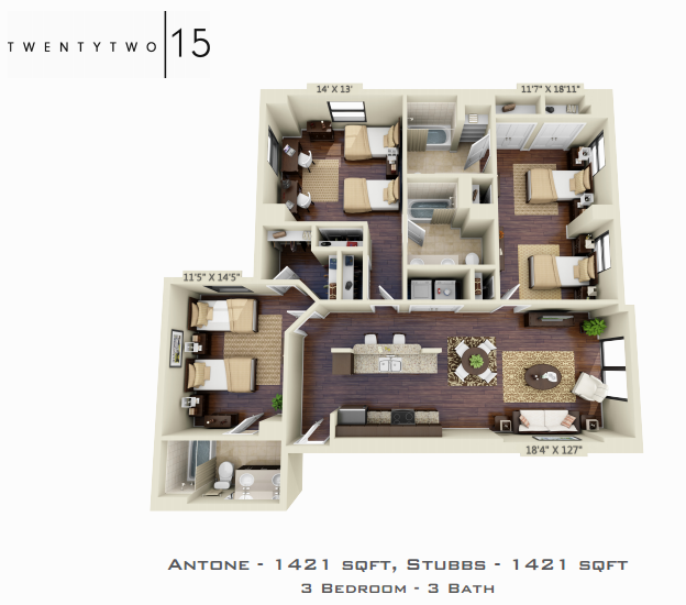 1,421 sq. ft. ANTONE/STUBBS floor plan