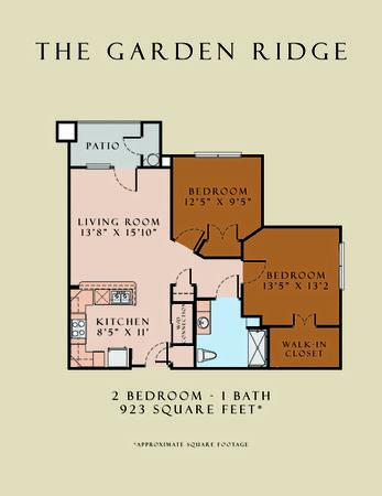 923 sq. ft. Garden Ridge/60 floor plan