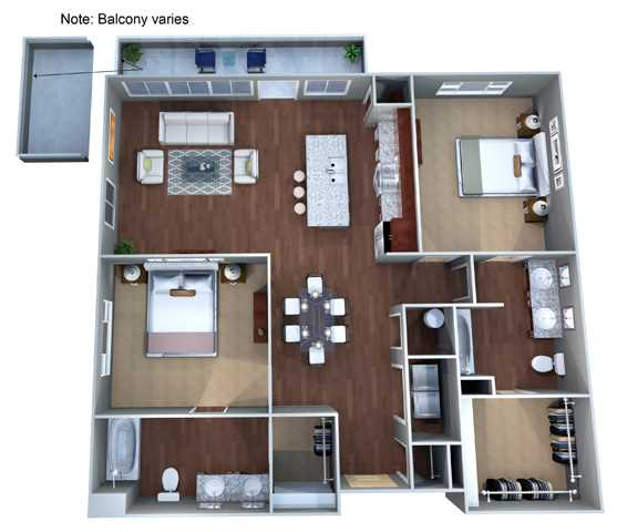 1,135 sq. ft. 2E floor plan