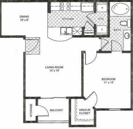 680 sq. ft. A1 floor plan
