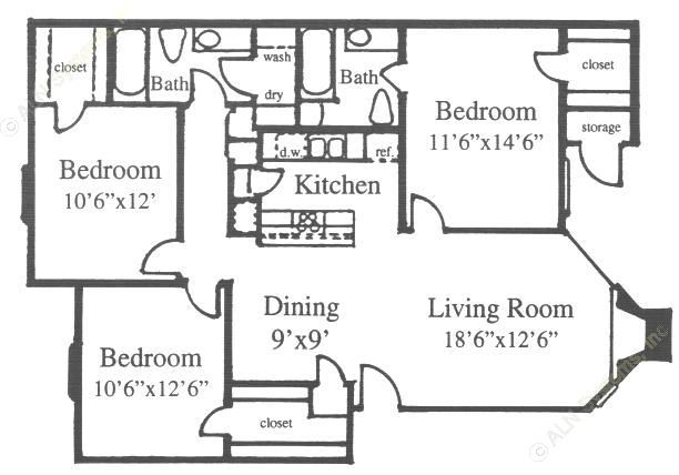 1,138 sq. ft. H floor plan