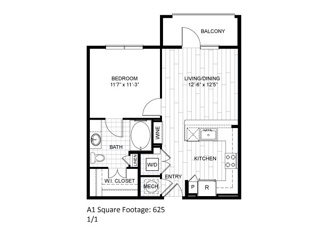 567 sq. ft. E1 floor plan