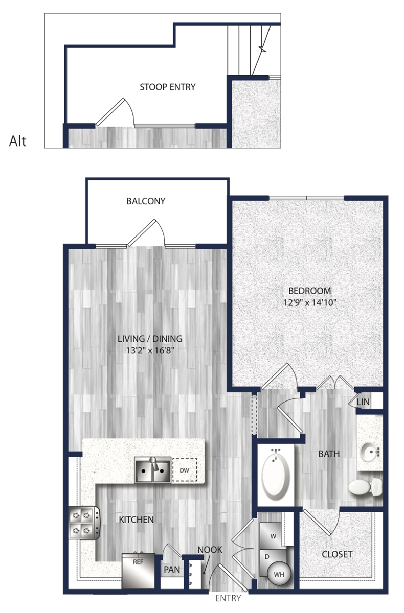 715 sq. ft. to 800 sq. ft. A4 floor plan