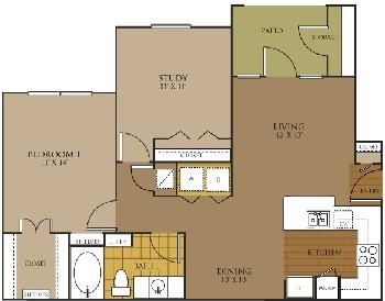 893 sq. ft. FANTASIA floor plan