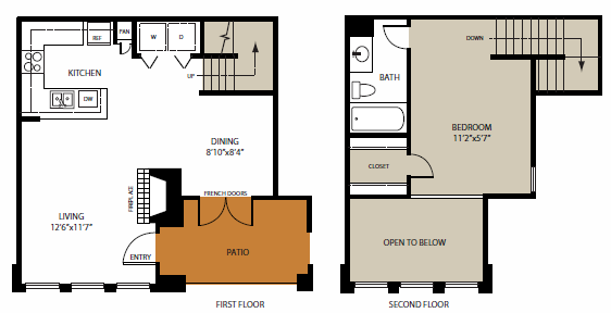 776 sq. ft. Deep Ellum floor plan