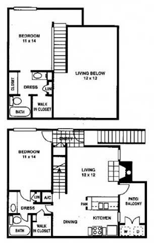 1,052 sq. ft. SB2 floor plan