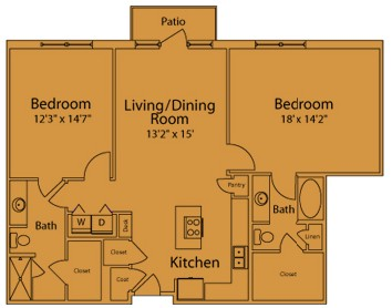 1,184 sq. ft. E2A floor plan