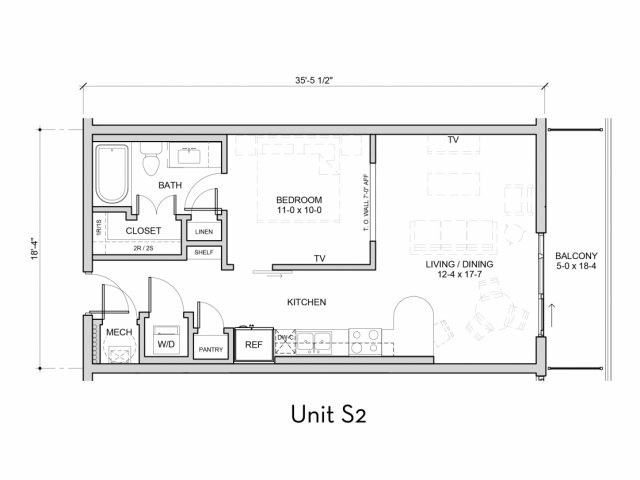 652 sq. ft. S2 floor plan