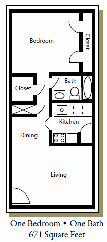 671 sq. ft. D floor plan