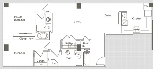 1,092 sq. ft. B1 floor plan