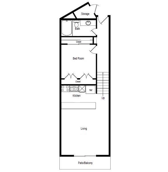 523 sq. ft. Shell floor plan