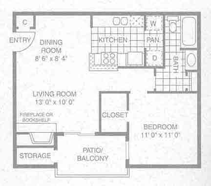 609 sq. ft. A-2 floor plan