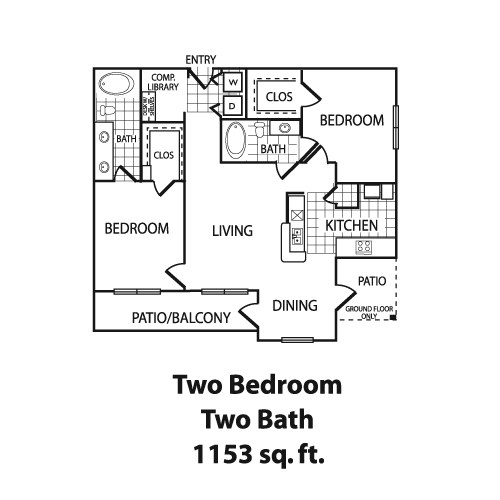 1,153 sq. ft. B4 floor plan