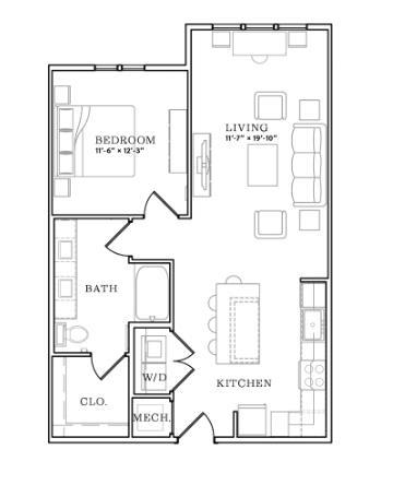 811 sq. ft. floor plan
