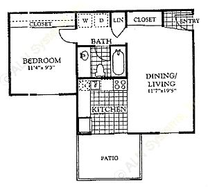 546 sq. ft. A1 floor plan