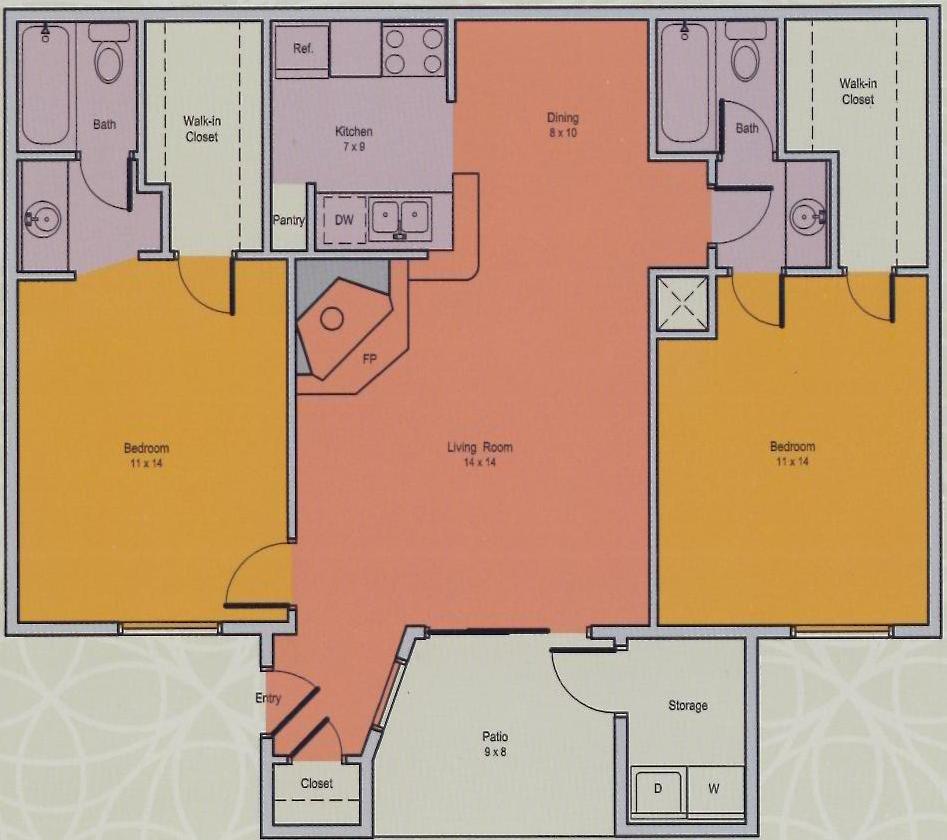 707 sq. ft. E floor plan