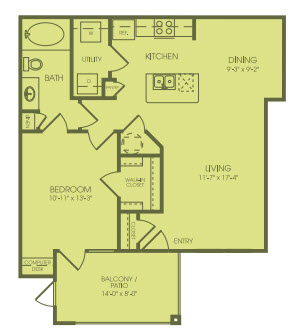 796 sq. ft. A2A floor plan