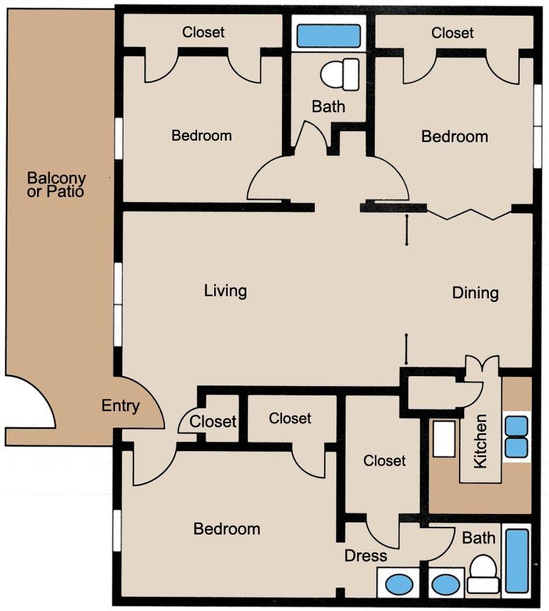 1,250 sq. ft. floor plan