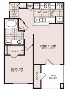 698 sq. ft. Bristol-A2 floor plan