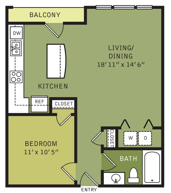 703 sq. ft. A1 (II) floor plan
