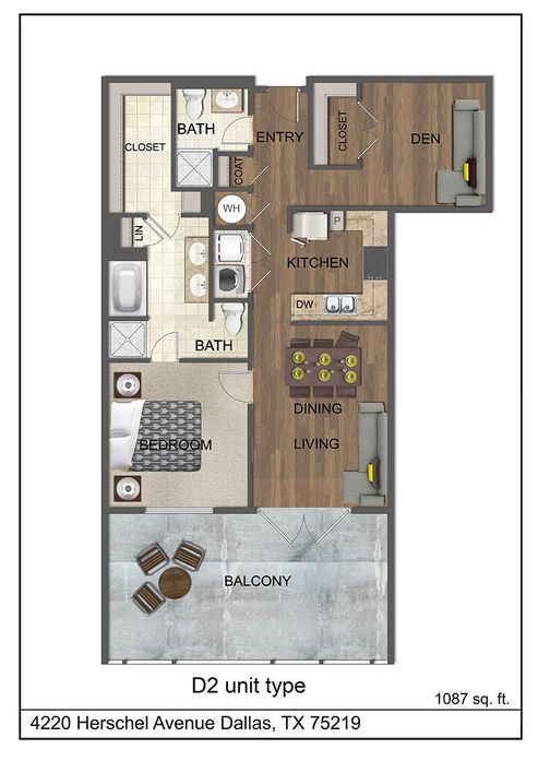 1,087 sq. ft. D2 floor plan