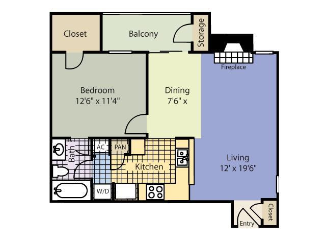 672 sq. ft. Breckenridge floor plan