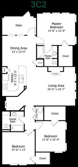 1,520 sq. ft. to 1,725 sq. ft. 3C2BG(det) floor plan