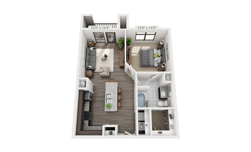 725 sq. ft. A1 floor plan