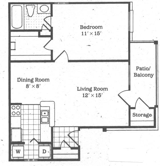 681 sq. ft. Tulip floor plan