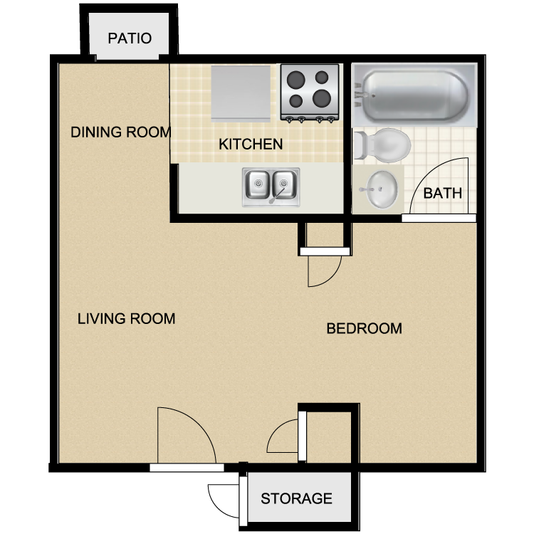 540 sq. ft. EFF floor plan