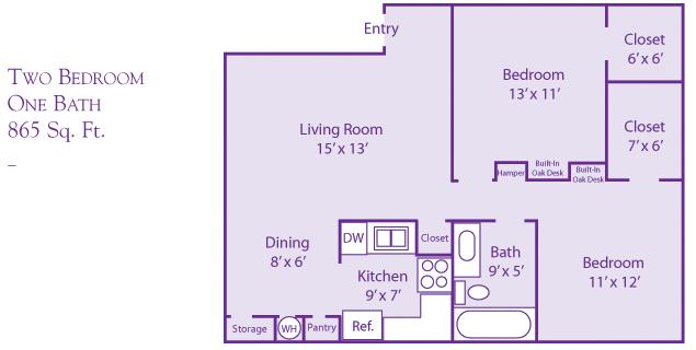 865 sq. ft. floor plan