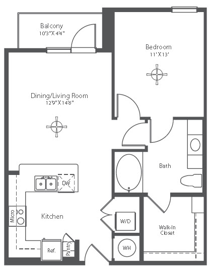 721 sq. ft. A3 floor plan