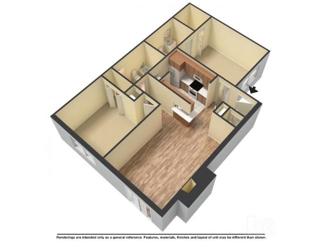 817 sq. ft. B2 floor plan