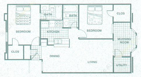 1,009 sq. ft. B3MR floor plan