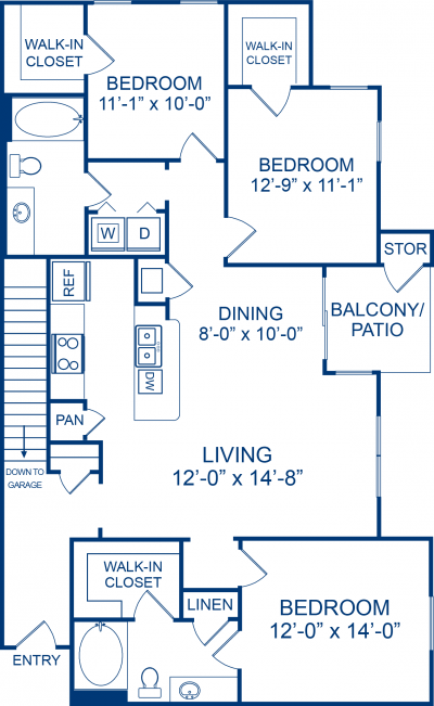 1,412 sq. ft. Thoroughbreed floor plan