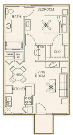606 sq. ft. 50% floor plan